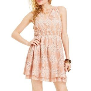 American Rag Pink Lace A-line Dress Sleeveless Med